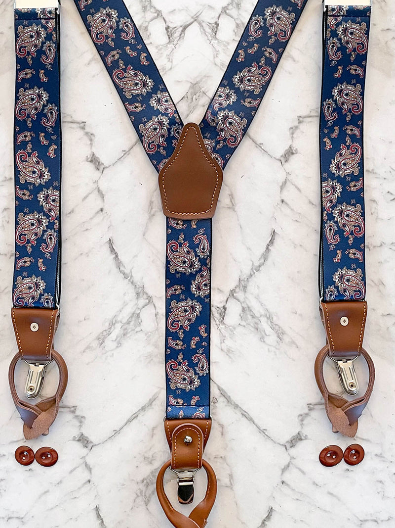Navy Paisley Leather Trim Clip/Button Convertible Suspenders