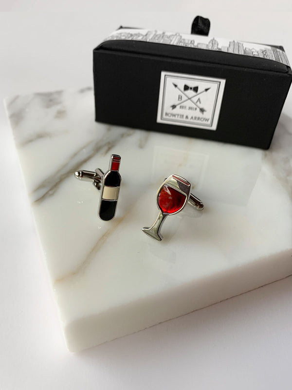 Red Wine Glass and Bottle Mens Cufflinks | Bowtie & Arrow Australia