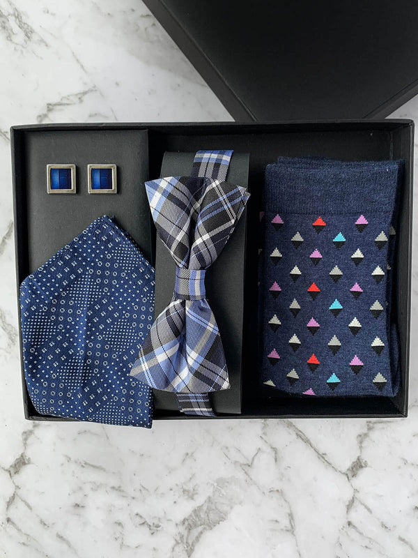 Navy Spectrum Silk Bow Tie Set