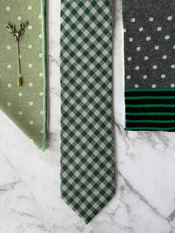 Mens Green Cotton Tie Check and Spot Tie Set with Socks | Bowtie & Arrow Australia