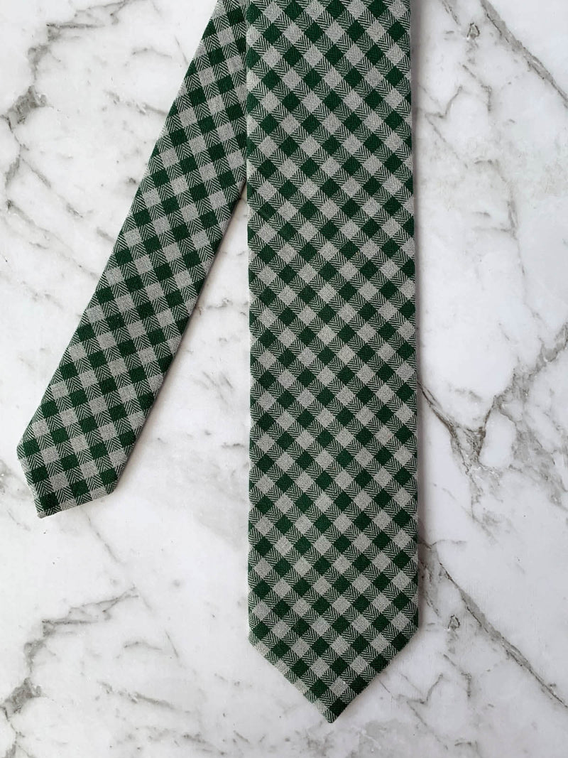 Mens Green Cotton Checked Tie Flatlay | Bowtie & Arrow Australia