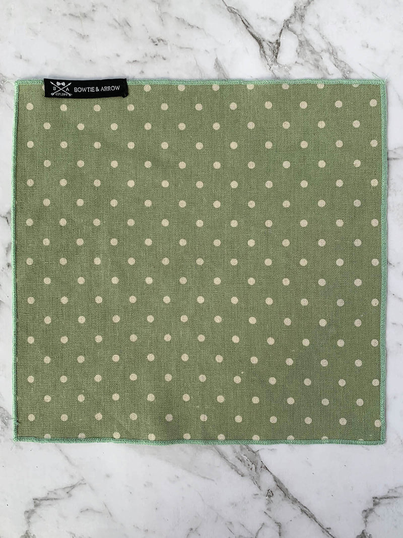 Green Polka Dot Linen Mens Pocket Square | Bowtie & Arrow Australia