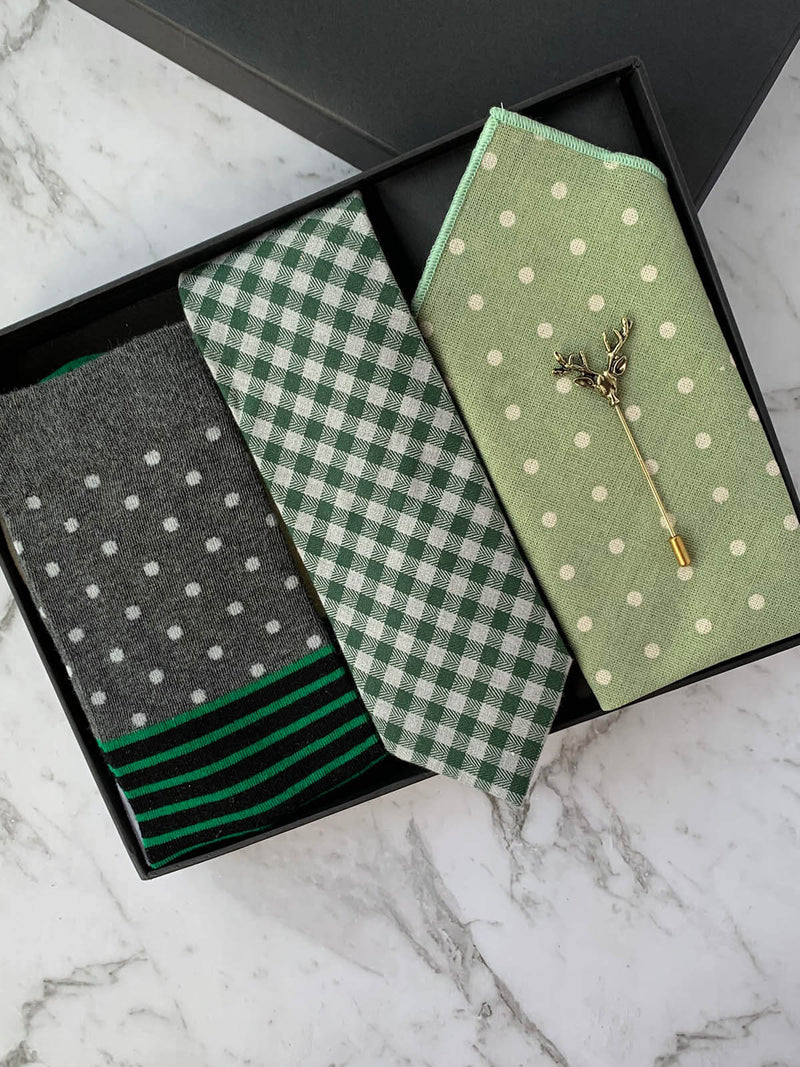 Green Cotton Tie and Pocket Square Matching Set Gift Box | Bowtie & Arrow Australia