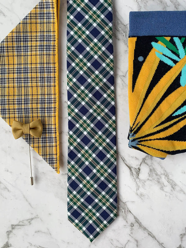 Checked Yellow and Navy Pocket Square, Cotton Tie, Socks, Lapel Pin Mens Flatlay | Bowtie & Arrow Australia