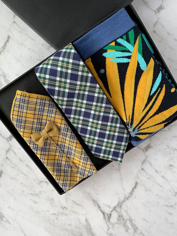 Yellow and Navy Checked Mens Cotton Tie Gift Box Set | Bowtie & Arrow Australia