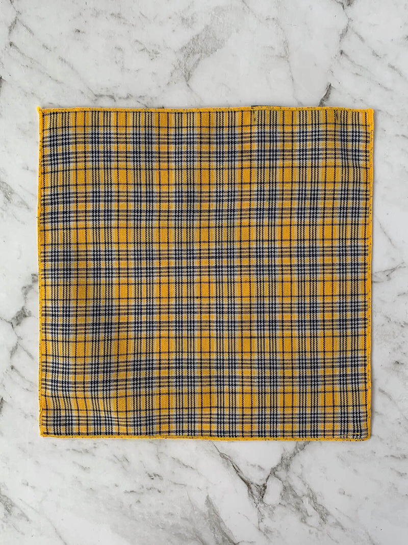 Yellow Navy Checked Cotton Pocket Square | Bowtie & Arrow Australia