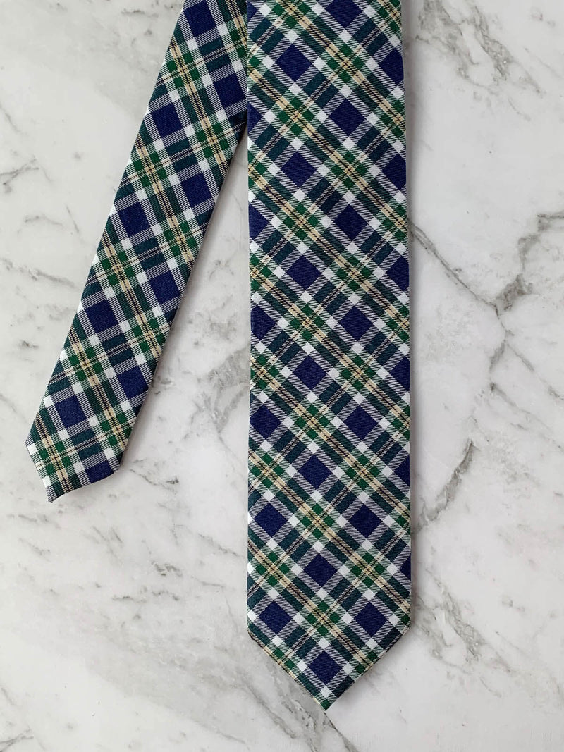 Mens Flatlay Cotton Checked Skinny Tie | Bowtie & Arrow Australia