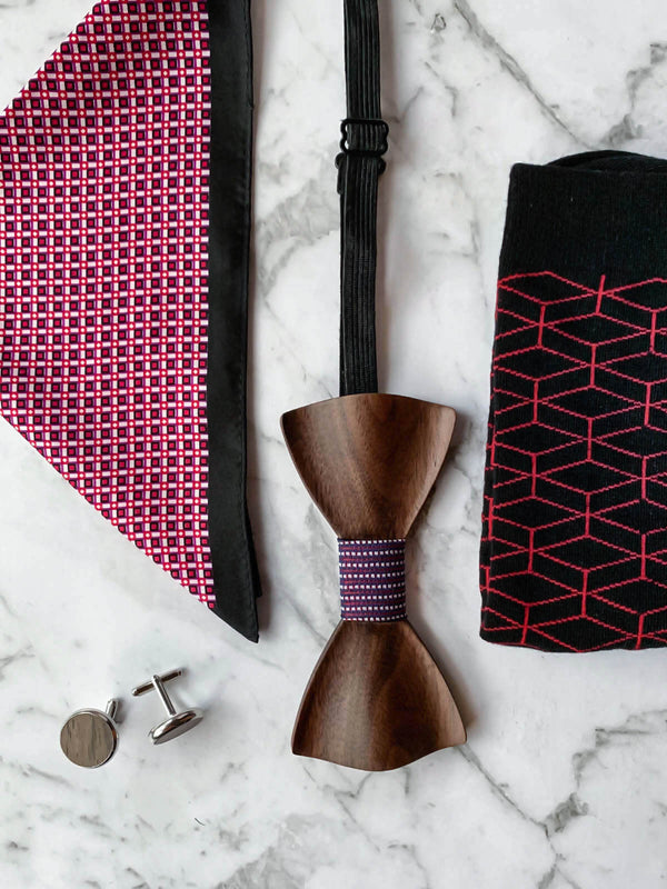 Mens Dark Wood Bowtie Flatlay with Black, Red, Purple Silk Pocket Square, Socks, Cufflinks | Bowtie & Arrow Australia
