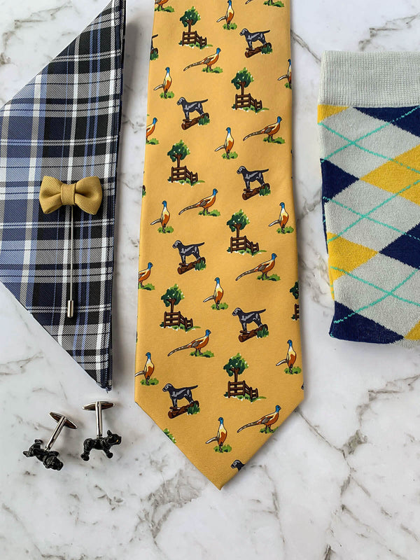 Pardon My Frenchie Silk Tie Set