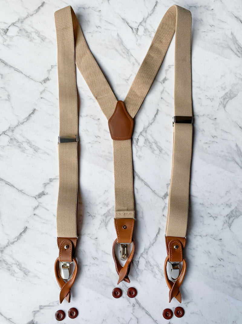 Oatmeal Leather Trim Clip/Button Convertible Suspenders