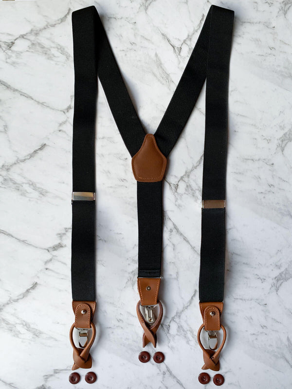 Genuine Leather Black Men's Suspenders | Adjustable & Convertible Suspenders Clip or Button Closure