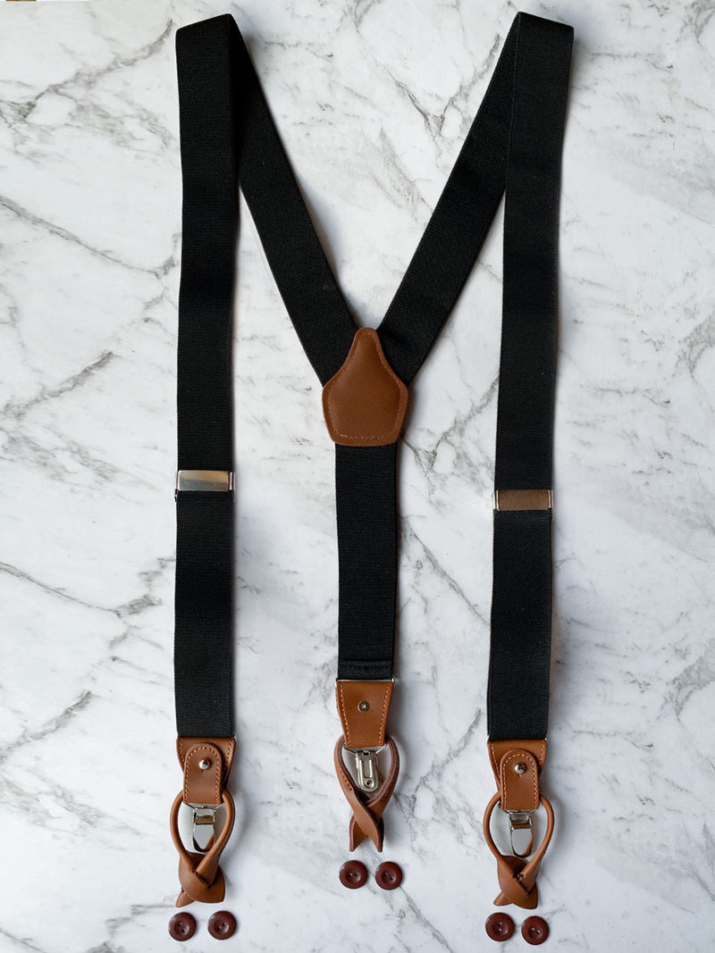 Black Leather Trim Suspenders & Woollen Bow Tie Set