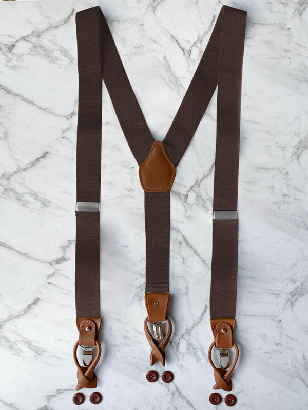 Genuine Leather Dark Brown Suspenders | Adjustable & Convertible Suspenders Clip or Button Closure