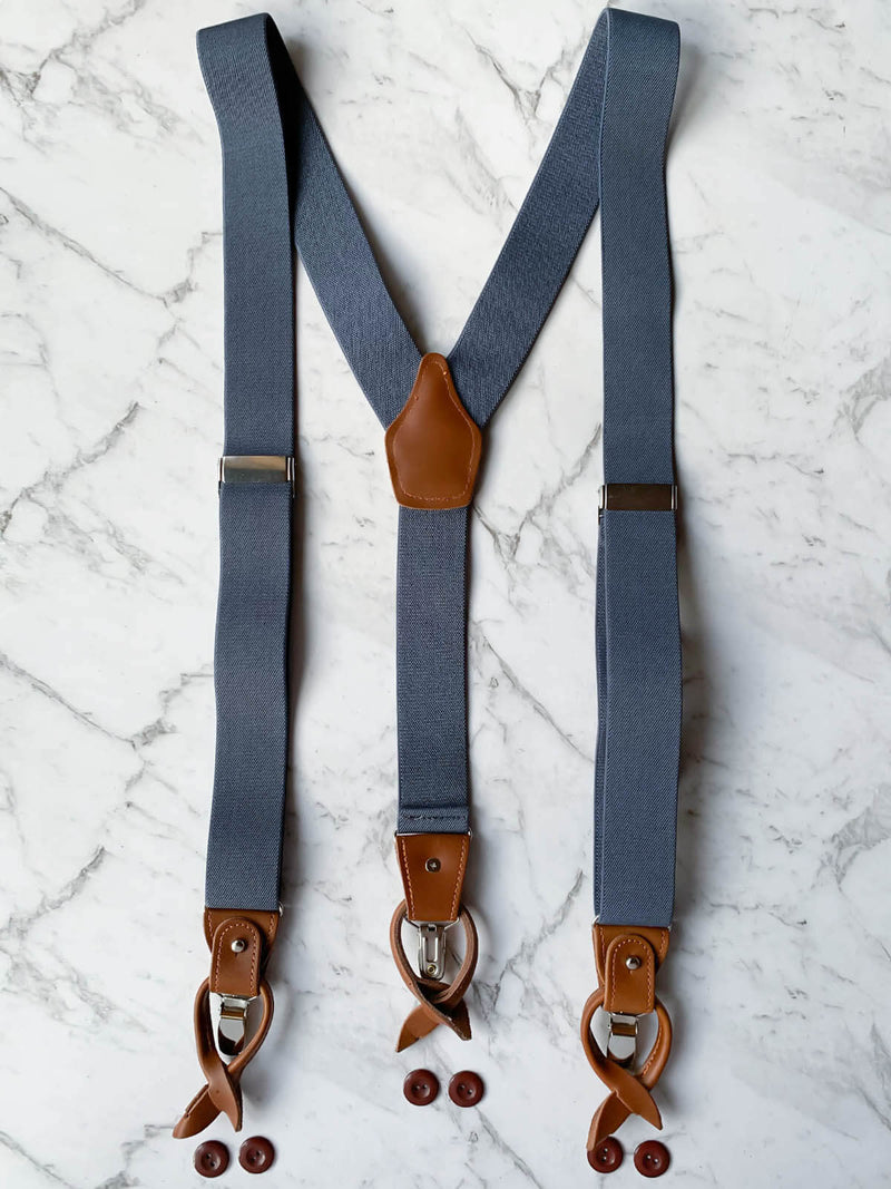 Blue Grey Leather Trim Clip/Button Convertible Suspenders