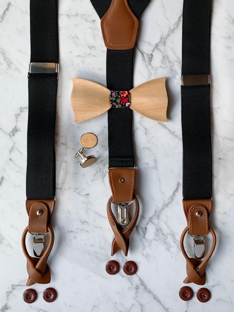 Mens Wooden Bow Tie & Matching Suspenders Set With Wooden Cufflinks | Black Floral Accessories For Men