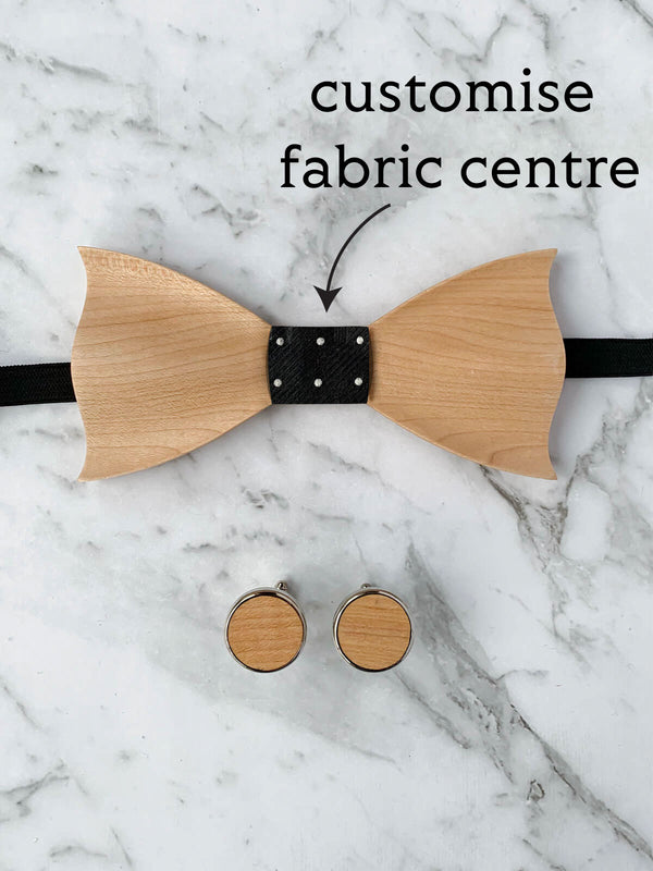 Wooden Bow Tie & Wooden Cufflinks Set | Customisable Bow Tie With Maple Wood