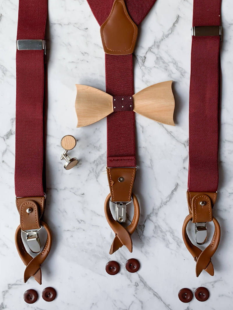 Red Leather Trim Suspenders, Wooden Bowtie & Cufflinks Set