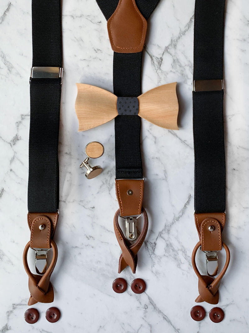 Black Leather Trim Suspenders, Wooden Bowtie & Cufflinks Set