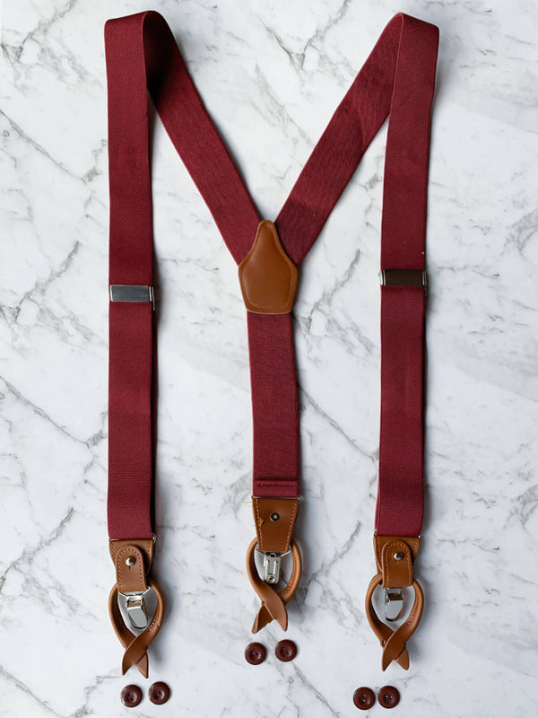 Burgundy Leather Trim Clip/Button Convertible Suspenders