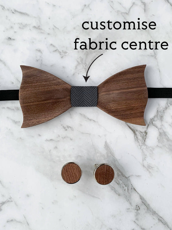 Wooden Bow Tie & Wooden Cufflinks Set | Customisable Bow Tie