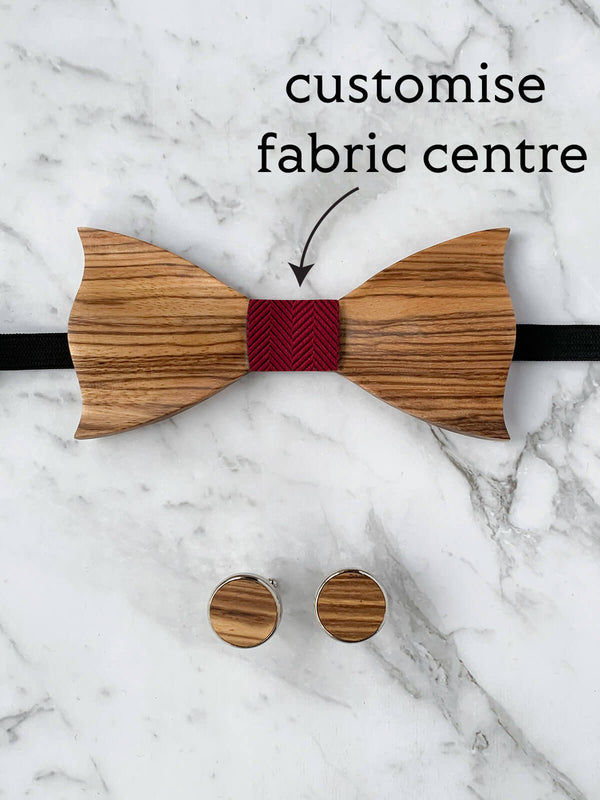 Wooden Bow Tie & Wooden Cufflinks | Zebra Wood Red Silk Bowtie