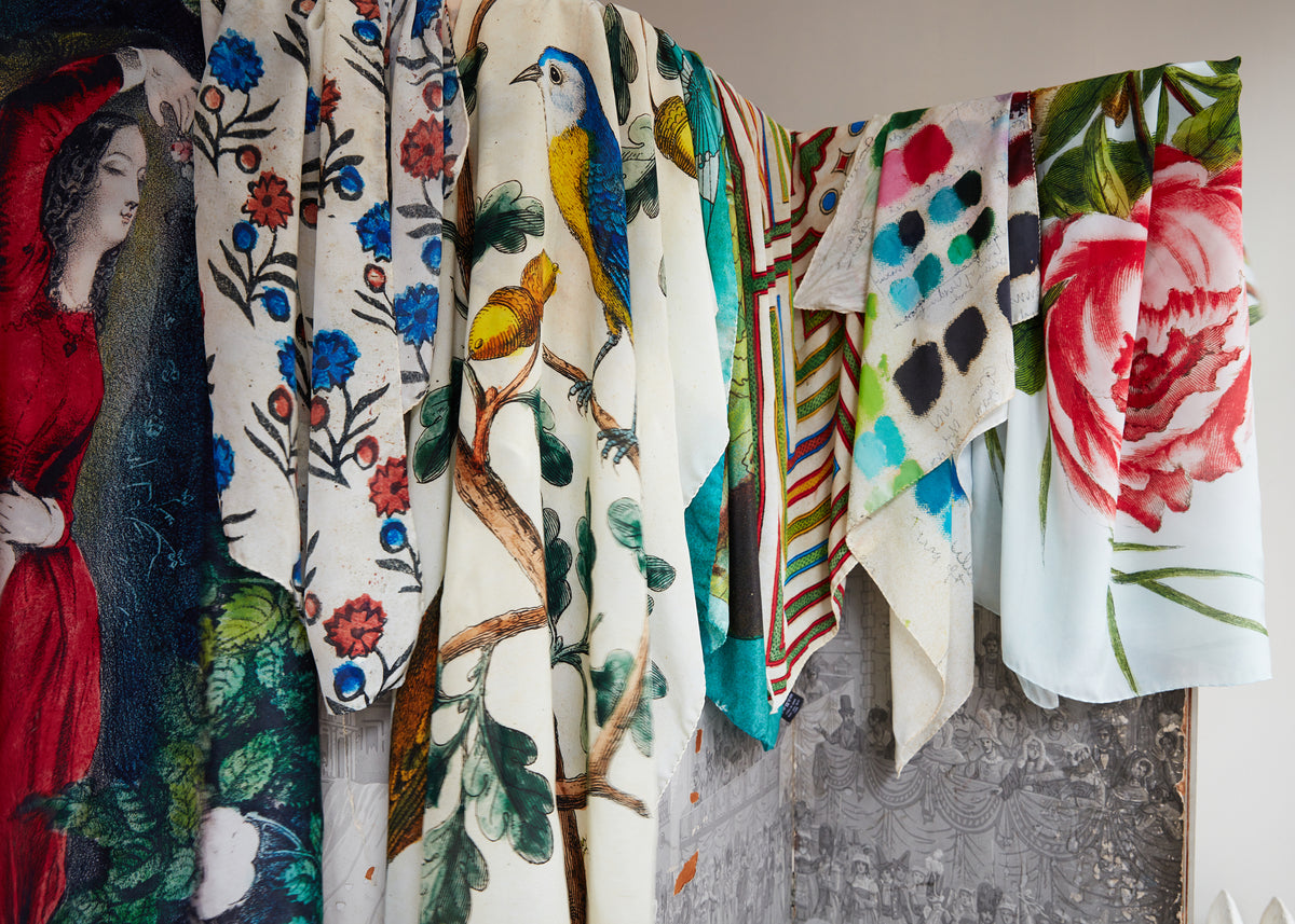 John Derian Picture Book Silk Scarves
