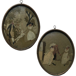 Framed Embroidery Pair