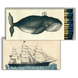 Whale and Clipper Ship four inch matchbox with fifty sticks