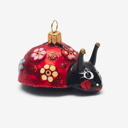 Ladybug with Flower Design Ornament