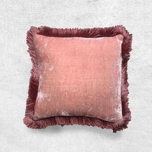 Small Fringe Silk Velvet Cushion in Old Rose
