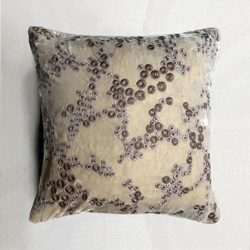 Harvest Silk Velvet Cushion in Champagne