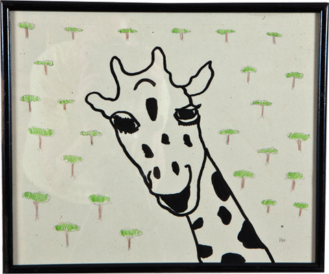 Giraffe with Trees