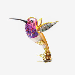 Purple & Gold Hummingbird Clip-On Ornament