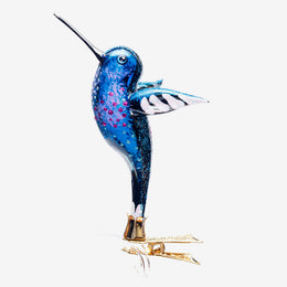 Blue & Grey Hummingbird Clip-On Ornament