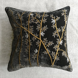 Treetops Silk Velvet Cushion in Graphite