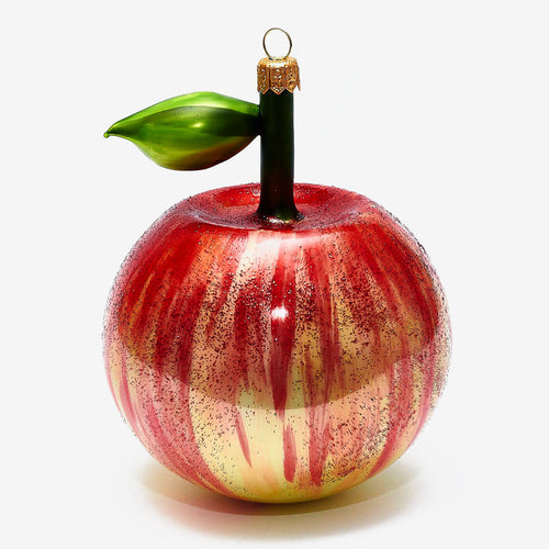 Red & Green Apple With Leaf Ornament
