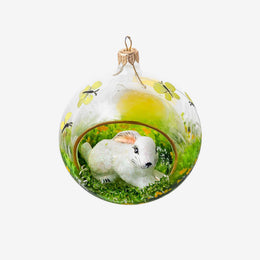 Diorama Ball With White Bunny Dome Ornament