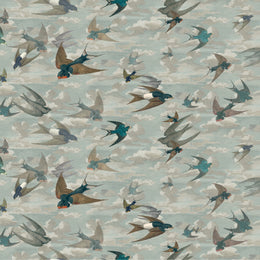 Chimney Swallows Sky Blue Fabric