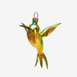 Yellow & Turquoise Hummingbird Ornament