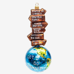Signposts On Globe Ornament