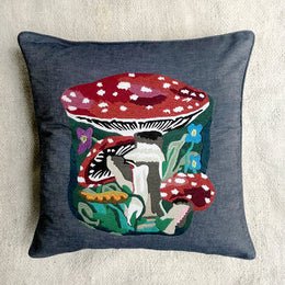 Nathalie Lete Embroidered Mushroom Pillow in Grey