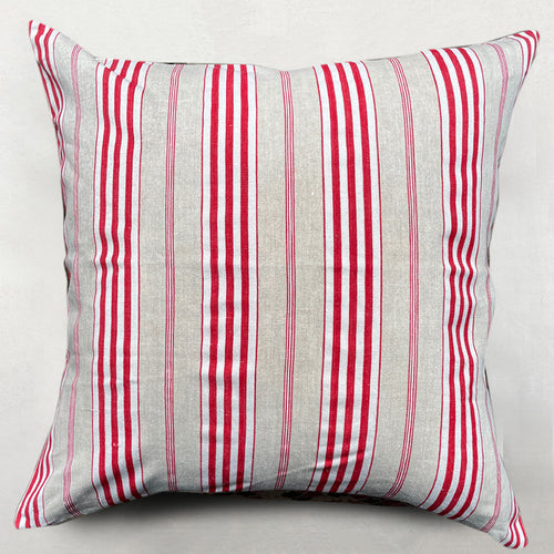 19th Century French Ticking Pillow in Red