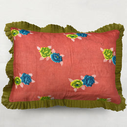 Organza Ruffle Pillow in Orange and Green Floral