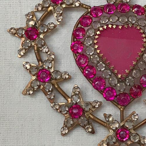 Large Jeweled Sacred Pink Heart Ornament