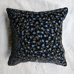 Misha Silk Velvet Cushion in Charcoal