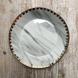 Carrara Marble Dish with Golden Spotted Rim