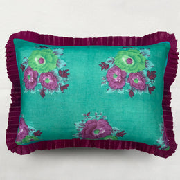 Organza Ruffle Pillow in Turquoise and Fuchsia Floral