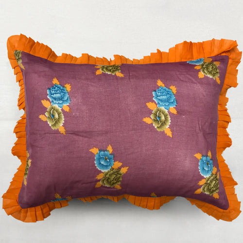 Organza Ruffle Pillow in Dusty Purple and Orange Floral