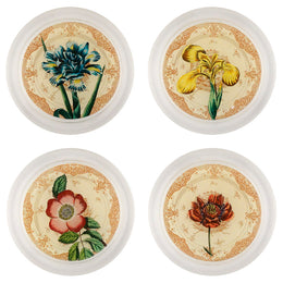 Flower Plates (Blue Iris, Peony, Rose, Yellow Iris)