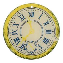"Yellow Clock (4"" Round Ornament) - SALE"